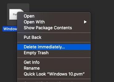Delete imediately .PVM files
