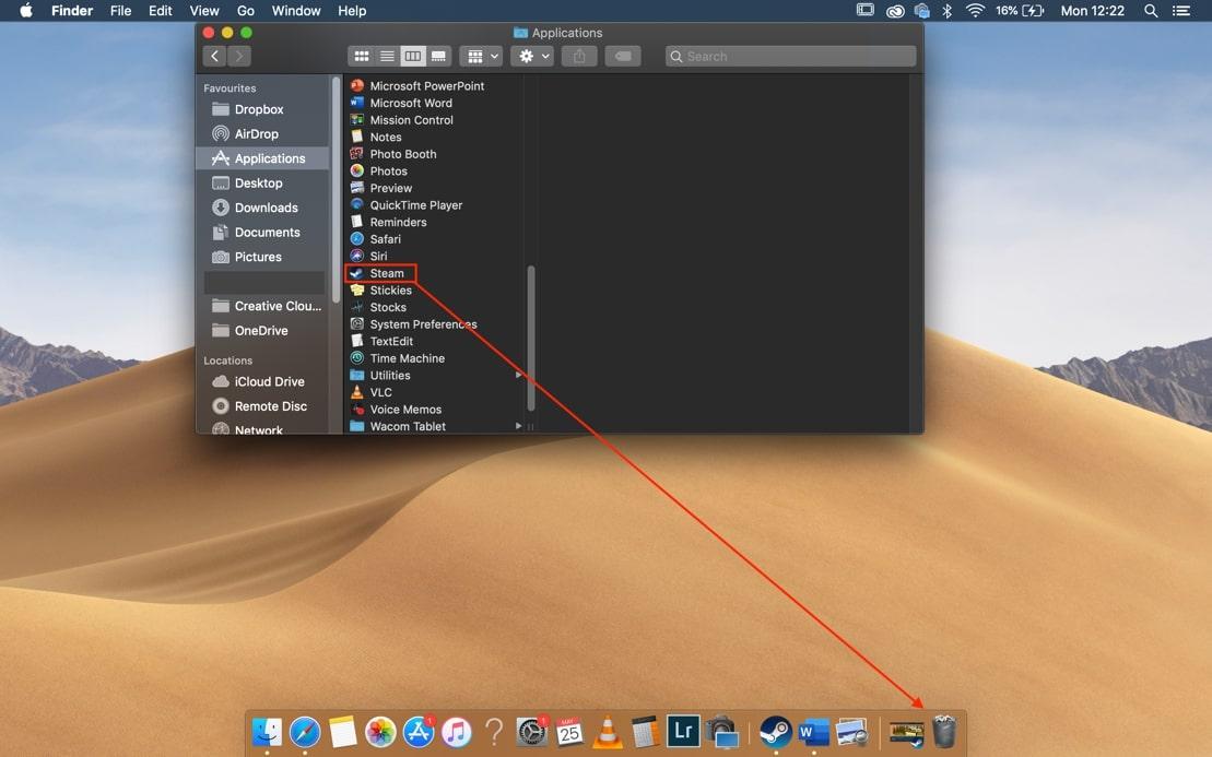 delete Steam on Mac