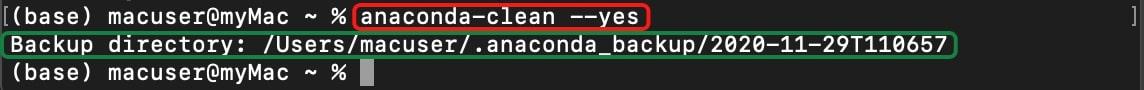 Uninstalling Anaconda using the Anaconda-clean package