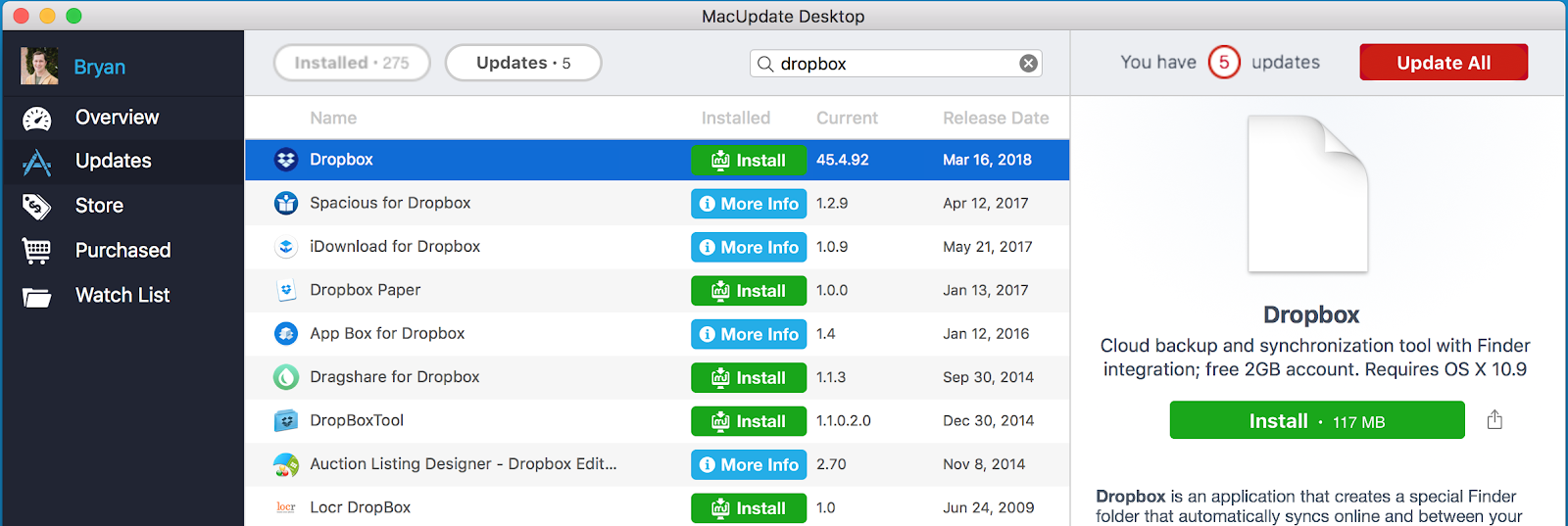Installing Dropbox for Mac