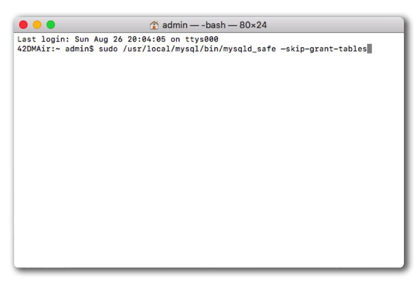 reset MySQL root password on Mac-im-7