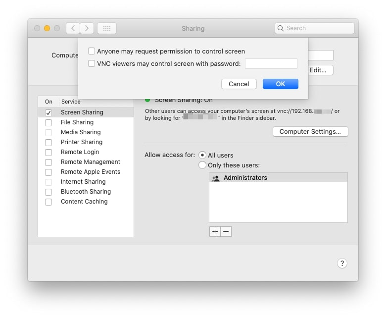 Screen sharing on Mac