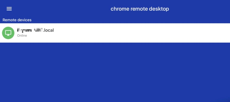 Chrome Remote Desktop interface