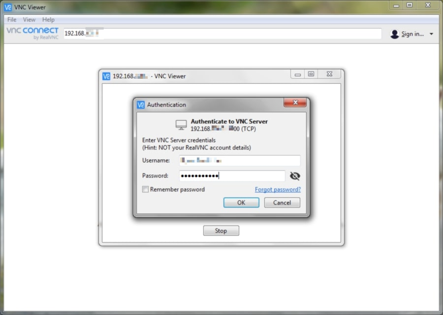 Enter the Mac VNC IP address