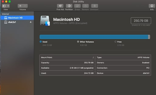 Inside the Disk Utility tool window