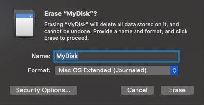Click on Erase button