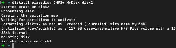 Erasedisk Command on Mac Terminal