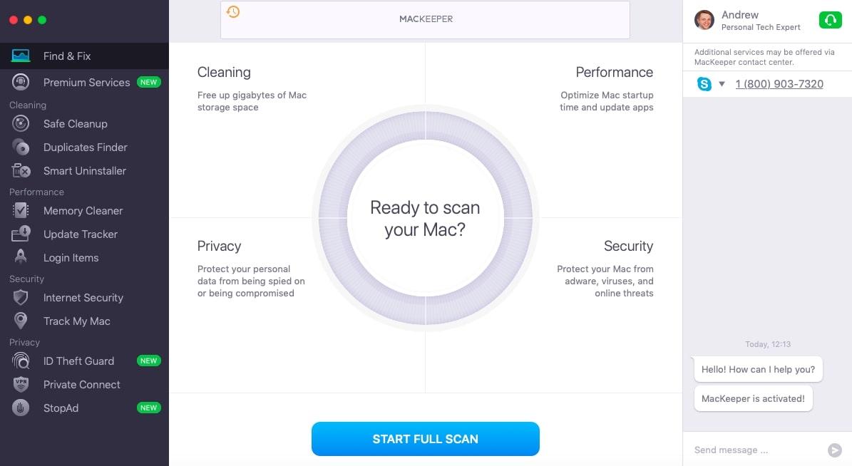 MacKeeper Main Screen