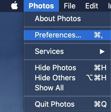 Go to Photos - Preferences