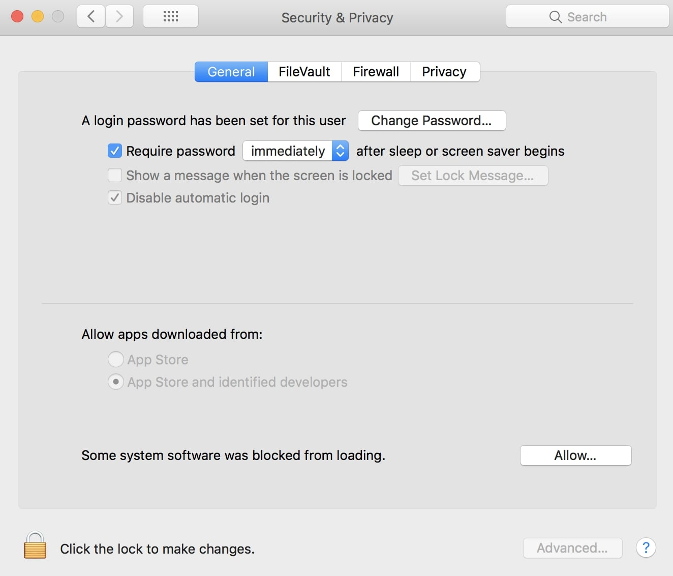 Mac Security and Privacy window