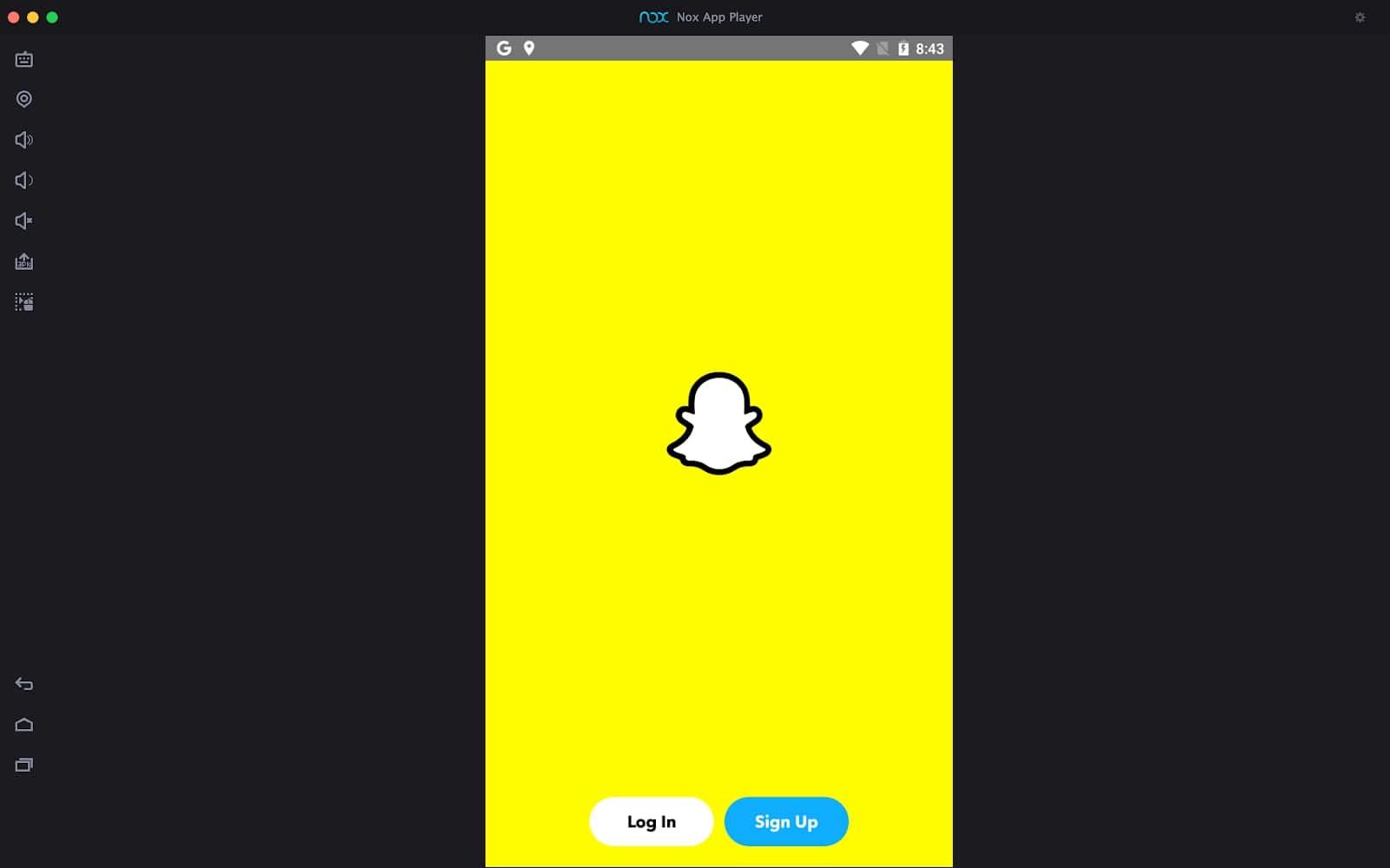 Snapchat window on Mac