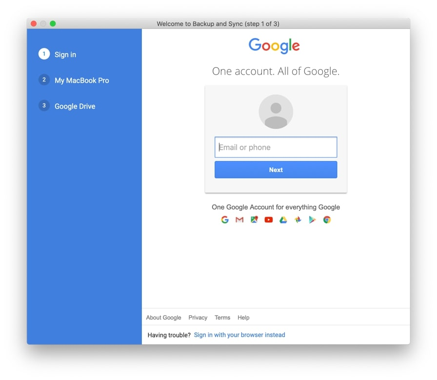 Login to your Google Account