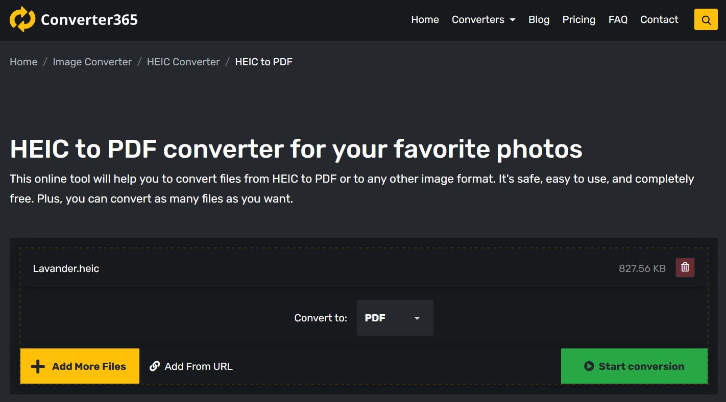 Convert online with Converter365