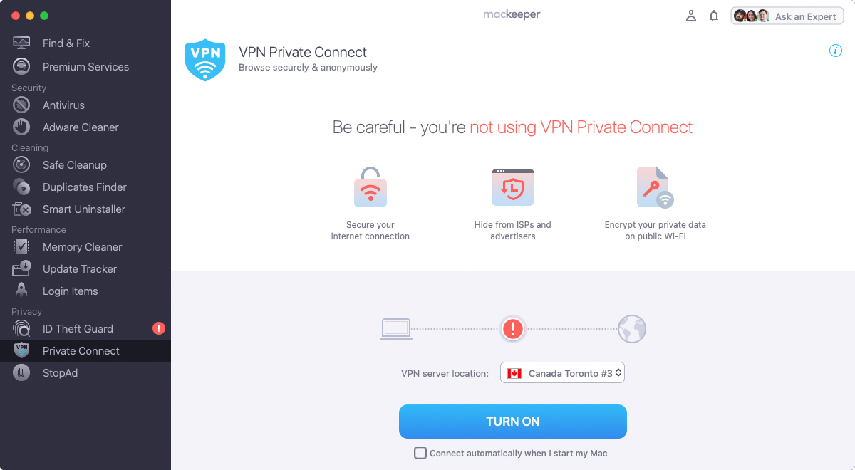 mackeeper private connect
