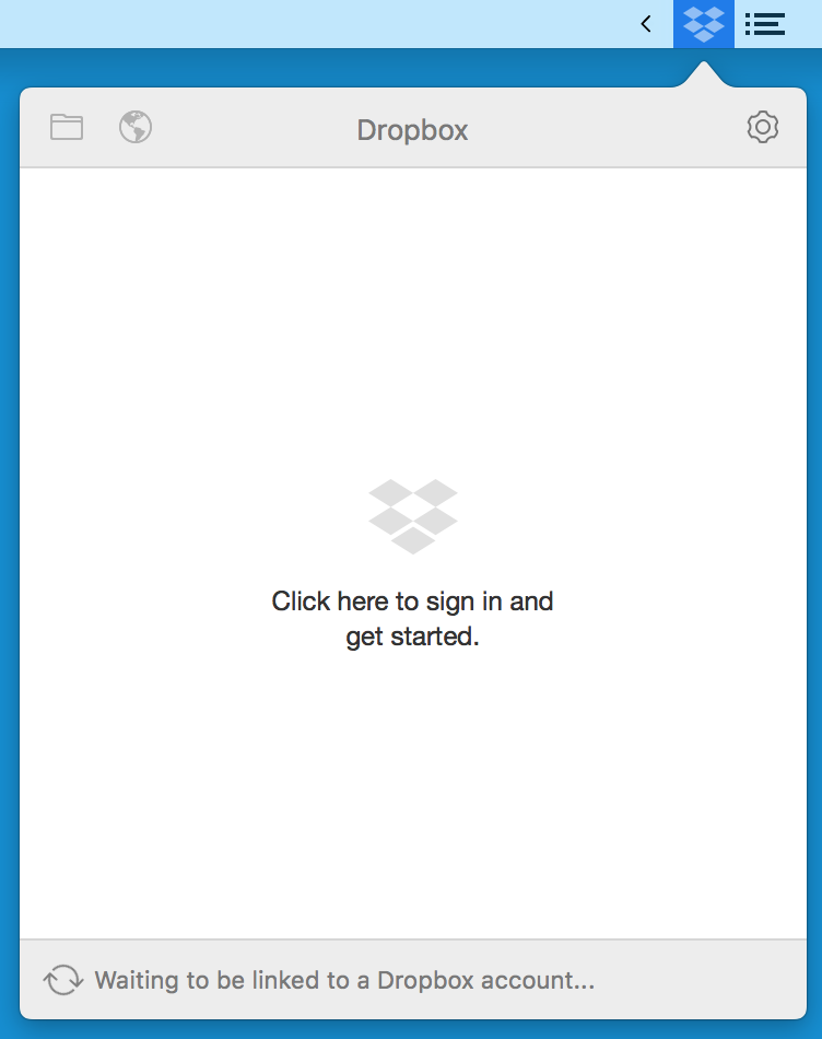 Dropbox in menu bar