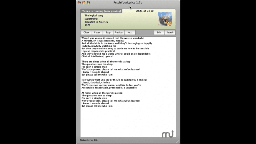 FetchYourLyrics for Mac - review, screenshots