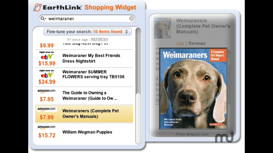 EarthLink Shopping Widget for Mac - review, screenshots