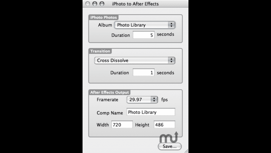 iPhoto to After Effects Slideshow for Mac - review, screenshots