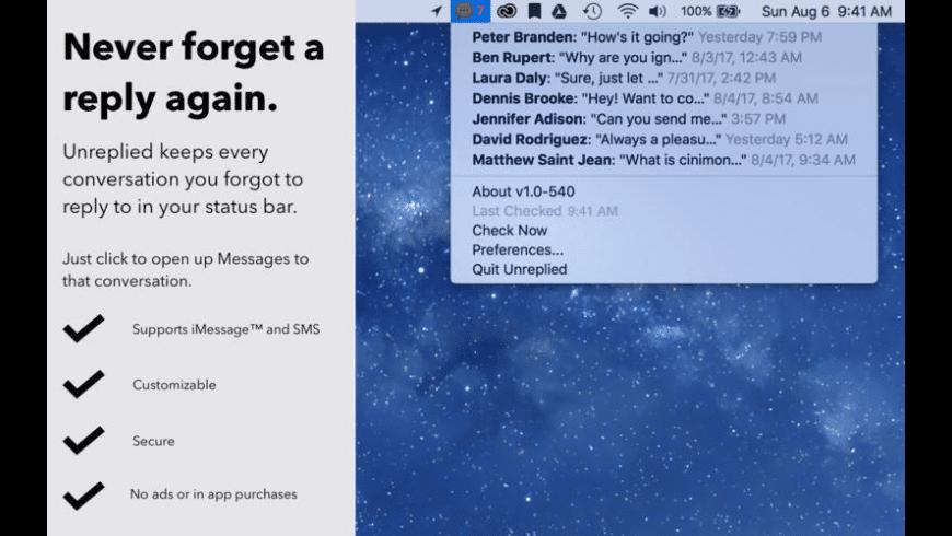 Unreplied for Mac - review, screenshots