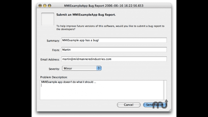 MMICrashReporter for Mac - review, screenshots