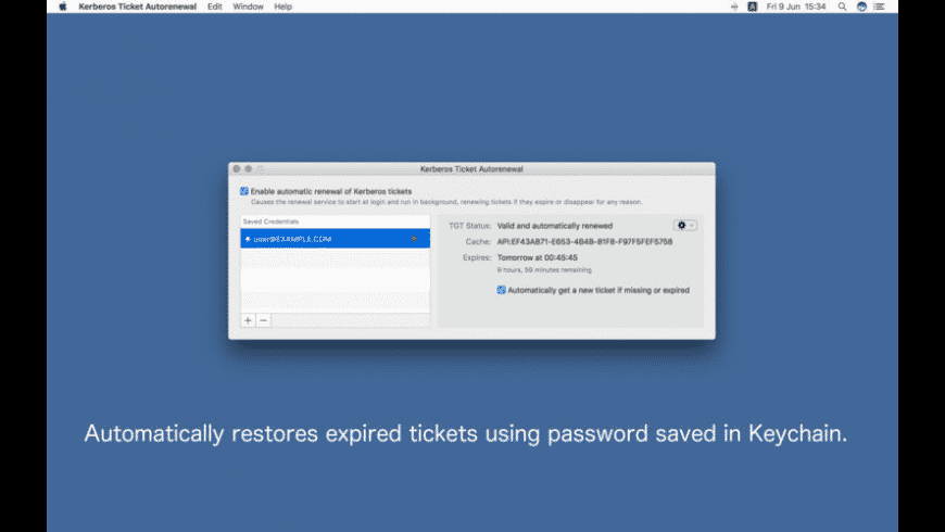 Kerberos Ticket Autorenewal for Mac - review, screenshots