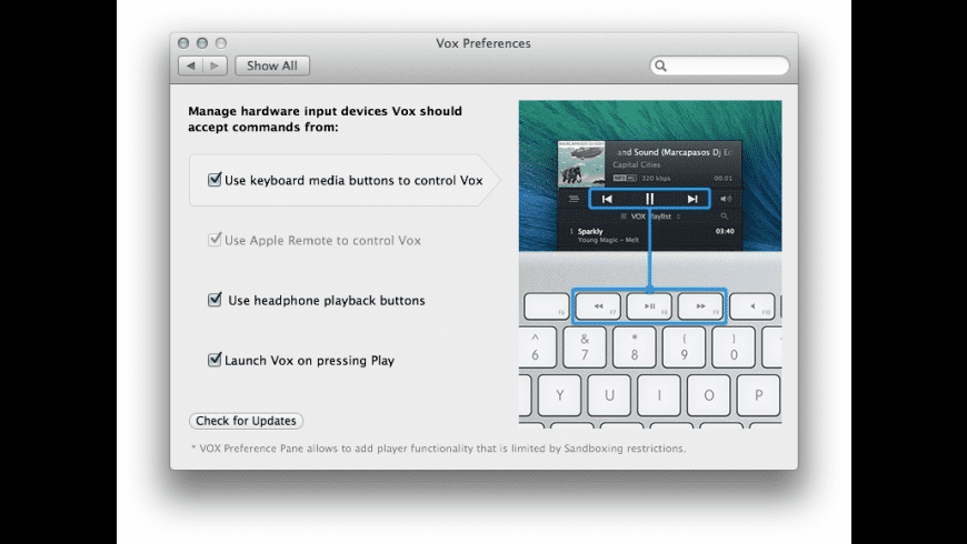 Vox Preferences for Mac - review, screenshots