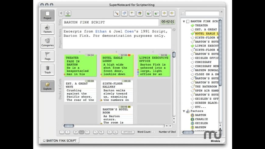 SuperNotecard for Scriptwriting for Mac - review, screenshots