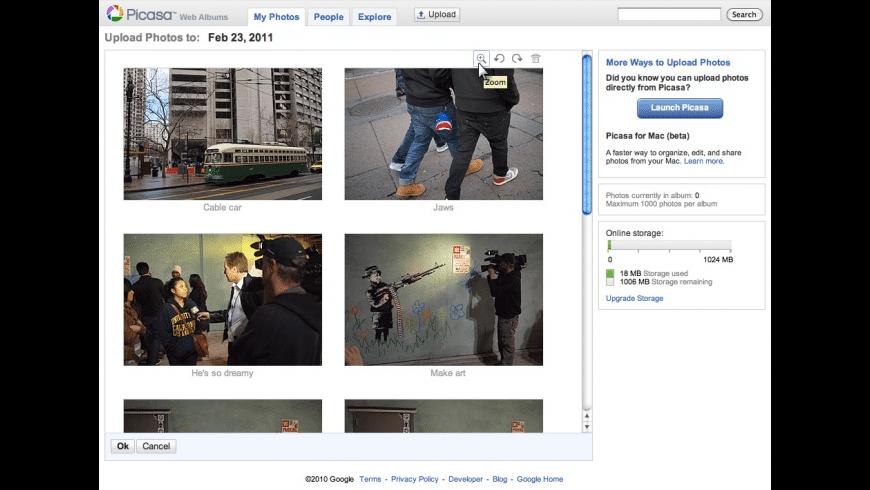 Picasa Web Albums Uploader for Mac - review, screenshots