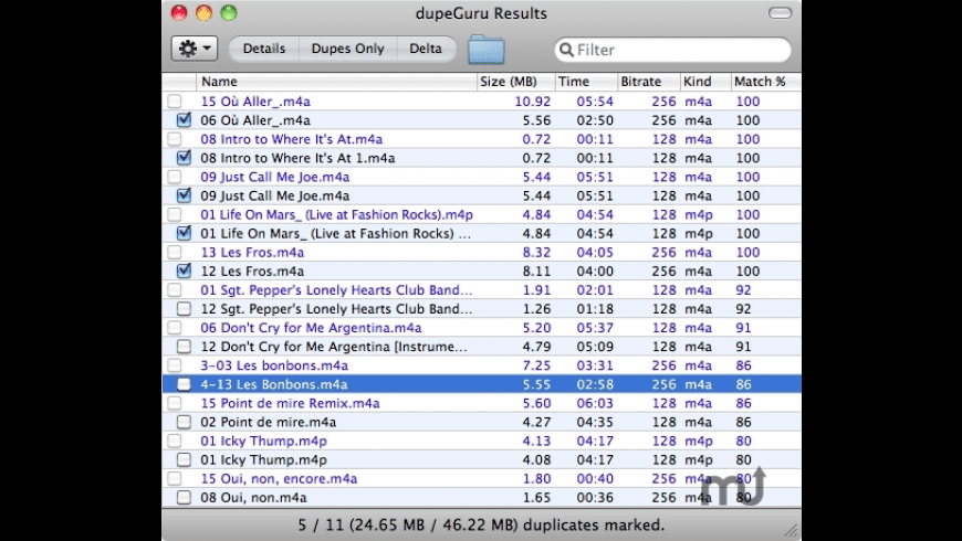 dupeGuru Music Edition for Mac - review, screenshots