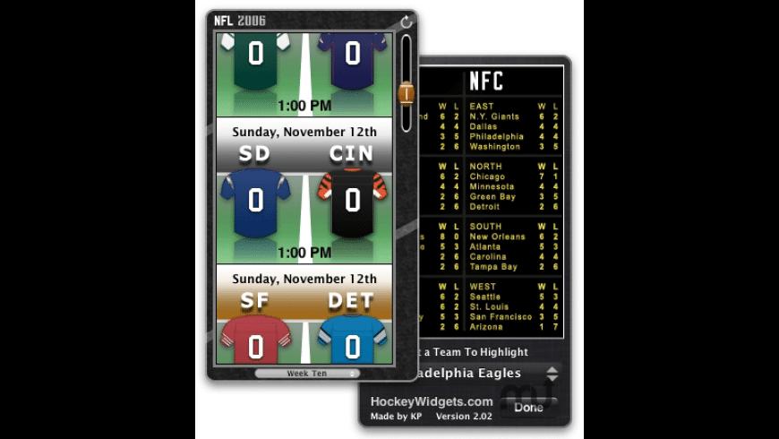 2006 NFL Widget for Mac - review, screenshots