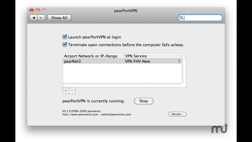 pearPortVPN for Mac - review, screenshots