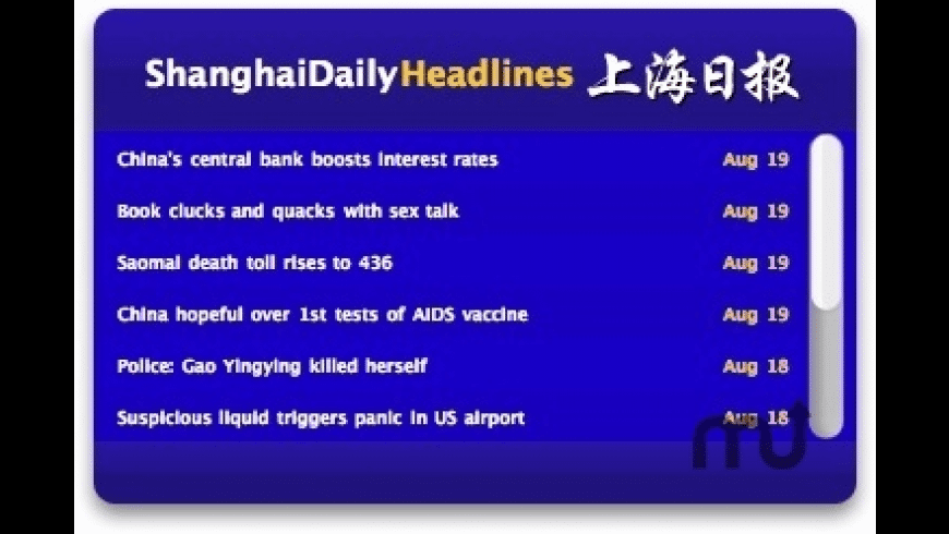 ShanghaiDaily Headlines Widget for Mac - review, screenshots