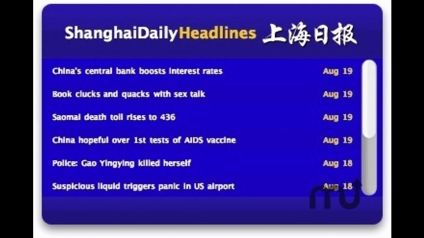 ShanghaiDaily Headlines Widget for Mac - review, screenshots
