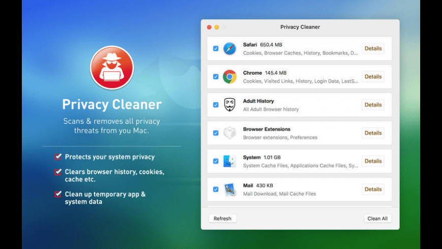 Privacy Cleaner for Mac - review, screenshots