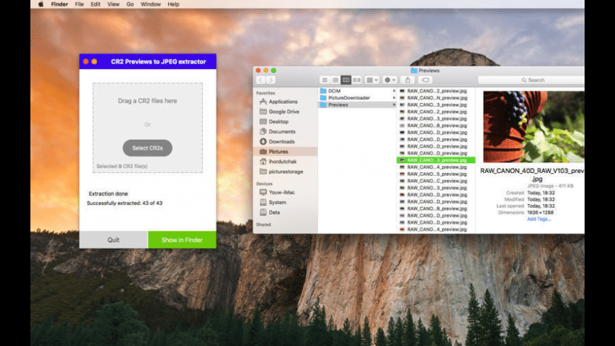 CR2PreviewExtractor for Mac - review, screenshots