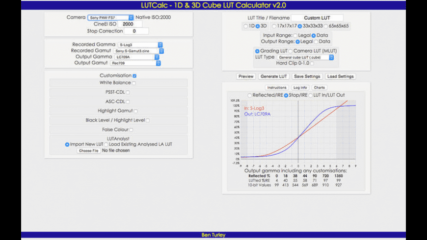 LUTCalc for Mac - review, screenshots