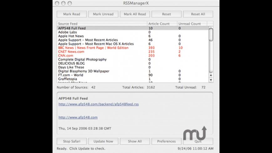 RSSManagerX for Mac - review, screenshots