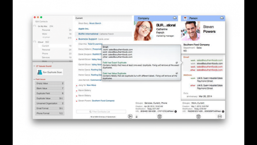 Contact Clearout for Mac - review, screenshots