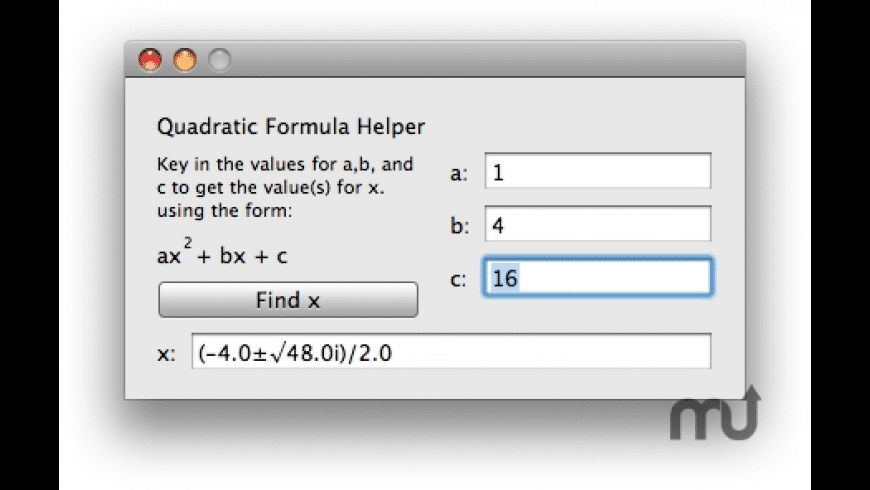 Quadratic Formula Helper for Mac - review, screenshots