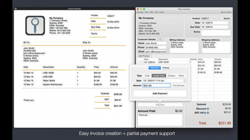 Invoice Professional for Mac - review, screenshots
