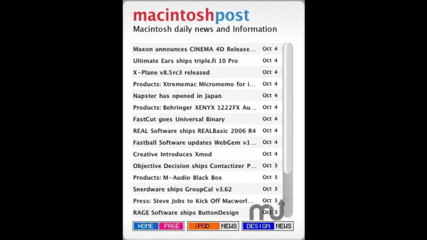 Macintosh Post RSS Widget for Mac - review, screenshots