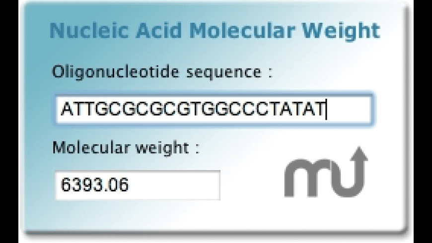 Nucleic Acid MW widget for Mac - review, screenshots