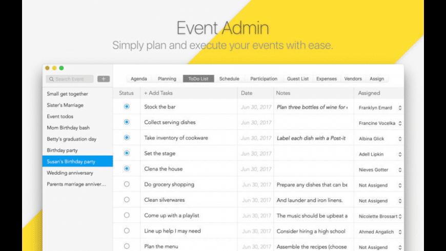 Event Admin for Mac - review, screenshots