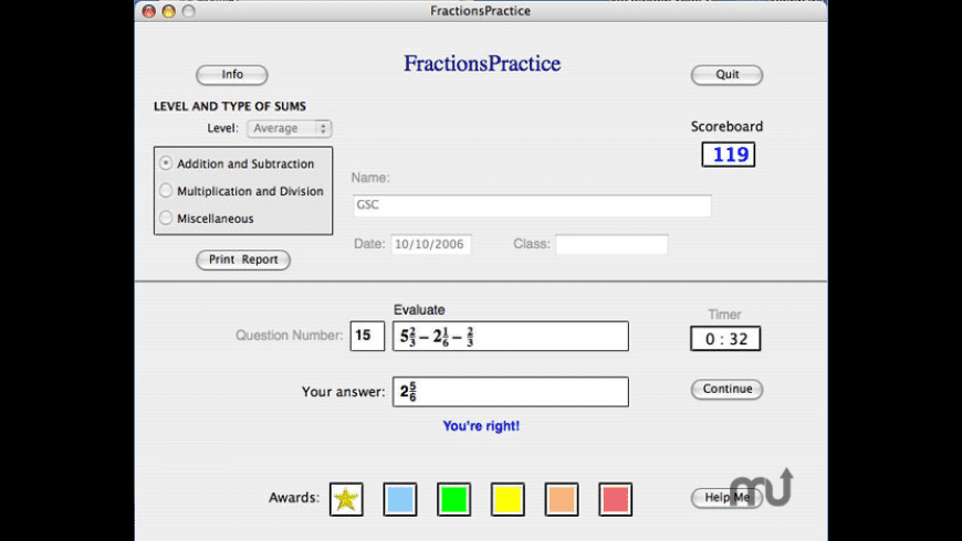 FractionsPractice for Mac - review, screenshots
