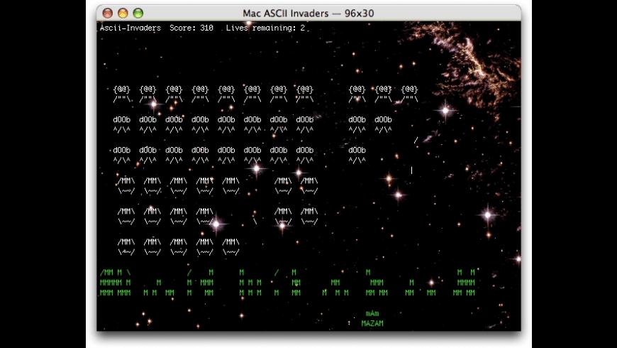 Mac ASCII Invaders for Mac - review, screenshots