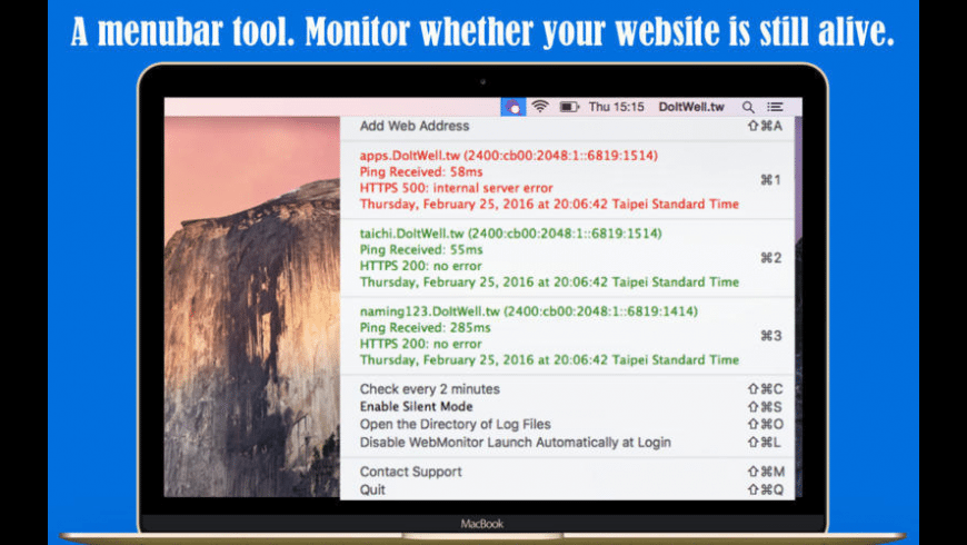 Simple WebMonitor for Mac - review, screenshots