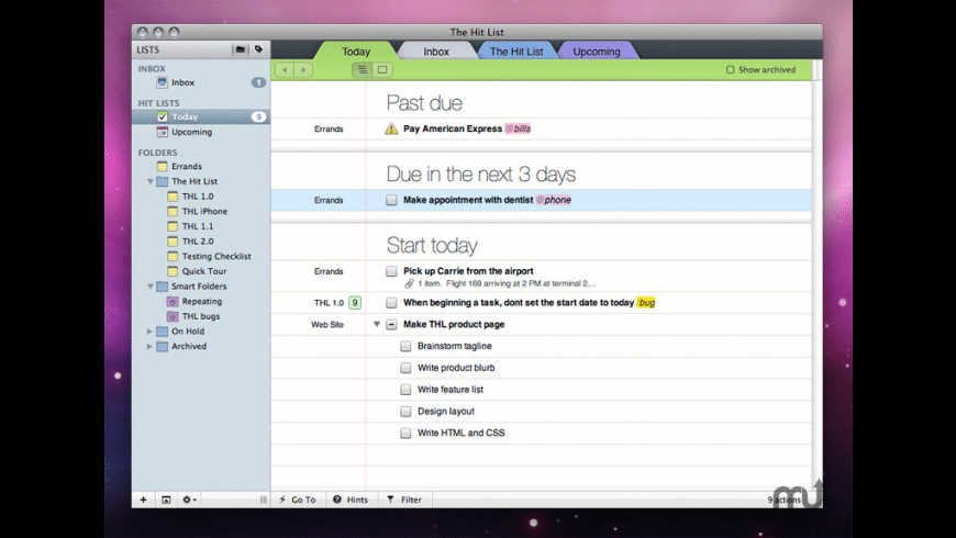 The Hit List for Mac - review, screenshots