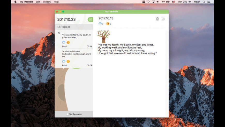 My Treehole Pro- Secret Diary for Mac - review, screenshots