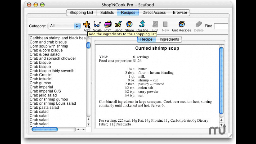 Shop'NCook Recipe Costing Pro for Mac - review, screenshots
