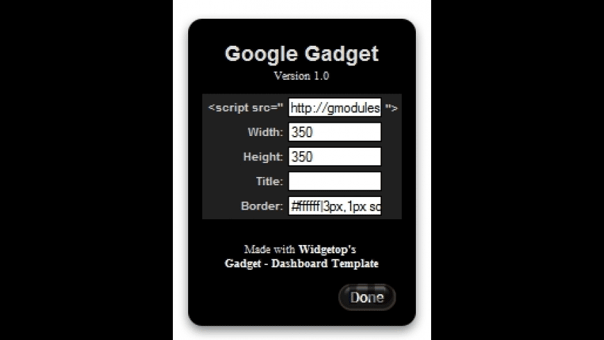 Google Gadget Widget for Mac - review, screenshots